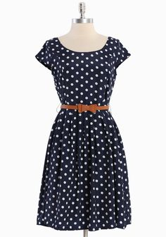 """Clermont Belted Polka Dot Dress 46.99 at shopruche.com. Rendered in a classic silhouette, this navy blue dress features a white polka dot print, cap sleeves, and flattering lines. Finished with an optional belt and an exposed back zipper closure. Fully lined., , Shell: 100% Polyester, Lining: 100% Cotton, Imported, 37.5"""" length from top of shoulder"""