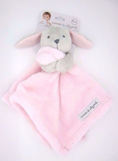 New Baby Nunu Gray Bunny Holding Pink Baby Security Blankets & Beyond #BlanketsBeyond