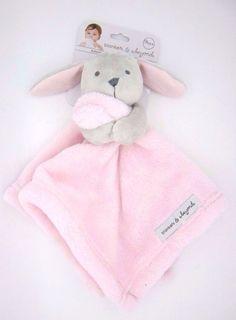 New Baby Nunu Gray Bunny Holding Pink Baby Security Blankets & Beyond #BlanketsBeyond