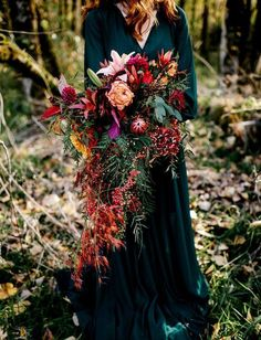 This bouquet is just utterly breathtaking ! So LOVE the dark green dress for its back drop ❤️ is part of Fall wedding bouquets - Wedding Bells, Boho Wedding, Floral Wedding, Wedding Colors, Dream Wedding, Wedding Ideas, Wedding Ceremony, Jewel Tone Wedding, Rustic Wedding