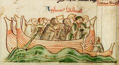 Arrival of Louis of France in England (1216). Louis (later King Louis VIII), son and heir of King Philip II Augustus of France, crosses the Channel to support the great English rebellion against King John and claim the English throne. For a time it looked as if England and Normandy might be reunited, under the Capetian dynasty of French kings. Matthew Paris, Chronica Majora, II, fol. 46v (50v).