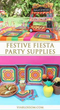 Festive Fiesta Party Supplies including bright fiesta plates and napkins and lots of fiesta decorations!