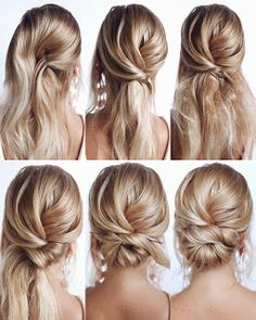 Tutorial Long Hair This elegant hairstyle is also suitable for wedding.Low bun wedding hair can match your wedding dress. Bridal hair updo or bridesmaid hair updo is perfert for wedding hairstyles updo. Save it and don& hesitate to try it! Bridal Hair Updo, Wedding Hair And Makeup, Boho Hair Updo, Hair Updo Easy, Simple Hair Updos, Low Updo, Diy Wedding Hair, Bridal Makeup, Easy Homecoming Hairstyles
