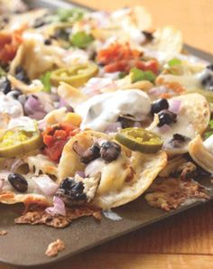 Cut the calories but not the taste with this recipe for cheesy nachos.