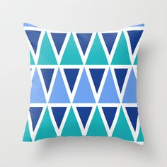 Tribal Pattern - Blue Throw Pillow by Holdrege Design - $20.00