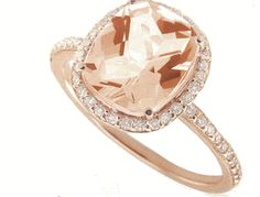 morganite cushion halo ring $725