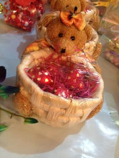 #cute #teddy #bear #with #chocolate #basket #full #of #assorted #chocolates  product available at https://www.facebook.com/chocofairies