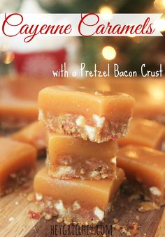 Cayenne Caramels with a Pretzel Bacon Crust. How amazing would these be for neighbor Christmas gifts?? Yum!