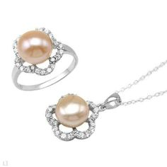 Sterling Silver Pearls and 2.5 CTW Cubic Zirconias Ladies Jewelry Set. Ring Size 6. Length 18 in. Total Item weight 3.4 g. VividGemz. $95.00. Save 80% Off!