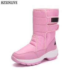 c69df832db14 HZXINLIVE Winter Mid-Calf Women Boots Fashion Warm Ladies Casual Snow Boots  Waterproof Non-slip Plush Turned-over Cuffed Shoes