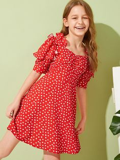 To find out about the Girls Button Front Ruffle Trim Dot Dress at SHEIN, part of our latest Girls Dresses ready to shop online today! Girls Casual Dresses, Kids Outfits Girls, Little Girl Dresses, Cute Dresses, Girl Outfits, Girls Fashion Clothes, Tween Fashion, Little Girl Fashion, Fashion Outfits