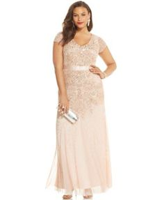 Adrianna Papell Plus Size Embellished Gown | macys.com