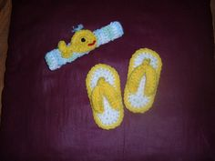 Crocheted Infants Headband With Matching Sandals, $12.0