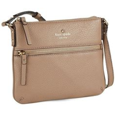 Kate Spade New York Tenley Leather Crossbody Bag ($178) ❤ liked on Polyvore featuring bags, handbags, shoulder bags, brown, brown shoulder bag, brown leather purse, brown leather crossbody, crossbody shoulder bags and leather cross body purse