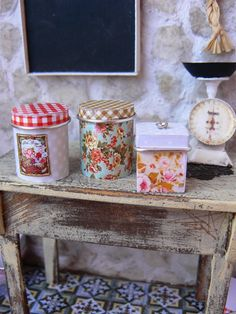 Vintage jars dollhouse kitchen by MiniEdenTienda on Etsy, €6.50 Cottage style miniature canisters...love these!
