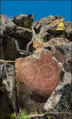 """She Who Watches"" (""Tsagaglalal"") Native American pictograph overlooking the Columbia River near Horsethief Lake; Columbia Hills State Park, Columbia River Gorge, Washington."