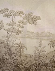 grisaille chinoserie panel by Gracie Studio