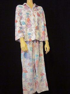 Nick & Nora Owls Pajama Set Top Bottom Flannel Pink Size Large Blue Purple #NickNora #PajamaSets #Sleepwear