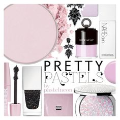 """""""Pastel Beauty Trend"""" by pastelneon ❤ liked on Polyvore featuring beauty, Guerlain, NARS Cosmetics, Jin Soon, Givenchy, Forever 21, Erno Laszlo, shu uemura, Fallon and makeup"""