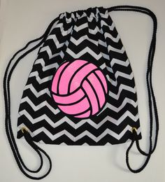 Hot Pink Glitter Volleyball on Black and White Chevron Backpack Bag