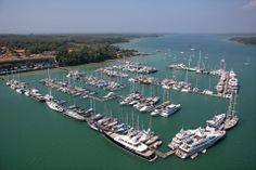 Yacht Haven Marina at the north end of Phuket Island from the air.