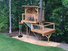 More ideas below: Amazing Tiny treehouse kids Architecture Modern Luxury treehouse interior cozy Backyard Small treehouse masters Plans Photography How To Build A Old rustic treehouse Ladder diy Treel Cozy Backyard, Backyard Playground, Playground Design, Backyard Kids, Playground Kids, Backyard Fort, Backyard Kitchen, Playground Flooring, Backyard Trees