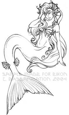 Mermaid lineart by *bassanimation on deviantART