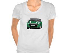 Green Mini Cooper S t-shirt  #minicooper #mini #cooper #british #automobile #carillustration #illustration #tshirt #shirt #carshirts #minihatch #hothatch #zazzle #green
