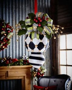 Deck the Halls Double Christmas Ornament by MacKenzie-Childs at Neiman Marcus. Christmas Books, Christmas Projects, Christmas Tree Ornaments, Holiday Crafts, Christmas Holidays, Christmas Wreaths, Christmas Decorations, Xmas, Holiday Decor