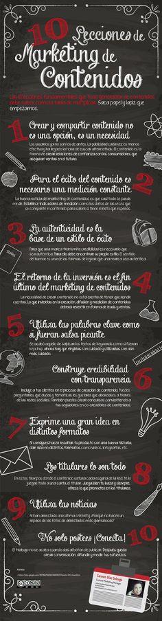 10 lecciones de marketing de contenido. Infografía en español. #CommunityManager