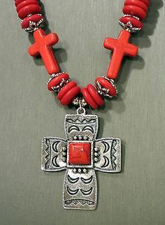 Cowgirl Bling Gypsy Southwestern Silver CROSS charms Red Coral necklace set Native Spanish Indian style our prices are WAY BELOW RETAIL!  ALL JEWELRY SHIPS FREE!  baha ranch western wear  ebay seller id soloedition www.baharanchwesternwear.com