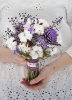 Sweet Wedding Bouquet: Lavender, Raw White Cotton, Coordinating Ingredients Cotton Candy Ideas for P How To Wrap Flowers, How To Preserve Flowers, Dried Flowers, Beautiful Flowers, Cotton Bouquet, Dried Flower Arrangements, Bridal Flowers, Flower Decorations, Wedding Decorations