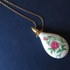 4fecff3dd5e Rose Perfume Necklace Vintage Porcelain Vial by MaiAutumn on Etsy
