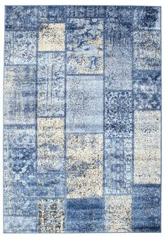 Weimar Patchwork - Blue rug 230x160 made of Viscose (artificial silk) - Find affordable rugs at RugVista
