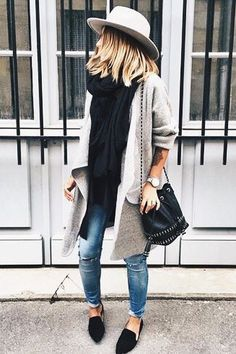 Fedora and long cardigan