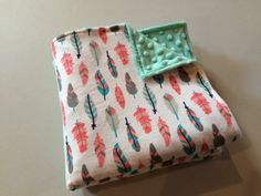 Teal Feather Baby Blanket Teal Minky Baby by StarBoundHorses