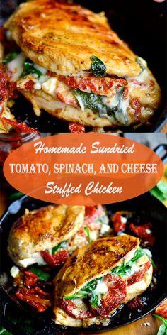 Sundried Tomato Recipes, Sundried Tomato Chicken, Chicken Spinach Tomato Recipe, Mushroom Chicken, Cheese Stuffed Chicken, Baked Chicken, Stuffed Chicken Recipes, Asparagus Stuffed Chicken, Stuffed Chicken Breasts