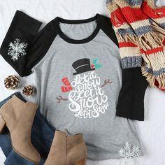 "Woman's ""Let It Snow"" Snowman Three Quarter Sleeve Baseball T-Shirt"