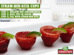 Straw-Bar-Rita, filled strawberries. I am gonna have to try this for this summer's fun one weekend. Fun adult treat.