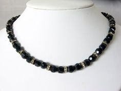 Vintage Black Glass Bead Necklace Rhinestones by EclecticVintager