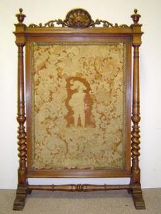 19th Century French Antique Renaissance Style Walnut Fire Screen Fireplace Fender Screens