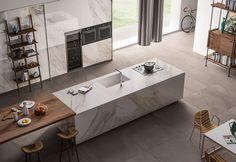 Italgraniti Group large format porcelain tiles in matte mud (floor) and polished Apuano (on island) - MEGA Luxury Kitchen Design, Interior Design Kitchen, Design Your Dream House, House Design, Latest Kitchen Designs, Chalet Design, Archi Design, Grand Format, Large Format