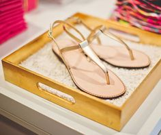 Lilly Pulitzer Jackie Leather Sandal shown in Gold Metallic.