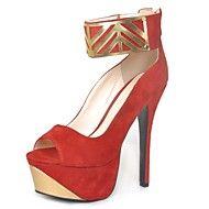 Sandaler ( Svart/Röd ) - till KVINNOR Stiletto klack - Klackar/Platå/Mary Jane/Öppen tå - i Flocking/Läder