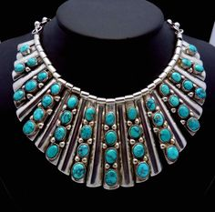 Vintage Huge Frank Patania Sterling Silver Turquoise Necklace Earrings Set 17665   eBay