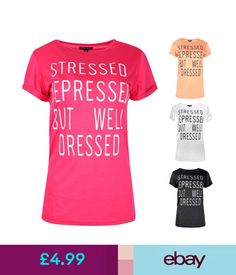 Tops & Shirts Ladies Womens Stressed Depressed But Well Dressed T-Shirt Summer Tops Tee #ebay #Fashion