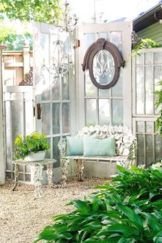 Outdoors Discover A Dream Outdoor Summer House & Gardening Shed Build a Greenhouse or Potting Garden Shed From Old Windows & Doors Shabby Chic Projects You Can Do Shabby Chic Dresser Project Idea Project Difficulty: Simple Summer House Garden, Garden Cottage, Home And Garden, Garden Oasis, Garden Path, Easy Garden, Garden Spaces, Family Garden, Garden Fun