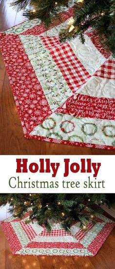 Holly Jolly Christmas Tree Skirt by A Bright Corner crafts christmas, Holly Jolly Christmas Tree Skirt and Sale Xmas Tree Skirts, Diy Christmas Tree Skirt, Christmas Tree Skirts Patterns, Christmas Diy, Christmas Decorations, Christmas Ornaments, Christmas Trees, Diy Ornaments, Ornament Storage