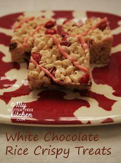 White Chocolate Rice Crispy Treats {Gluten-free}