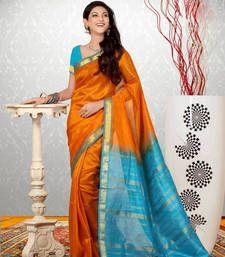 Buy Orange Printed cotton_silk saree with blouse banarasi-saree online
